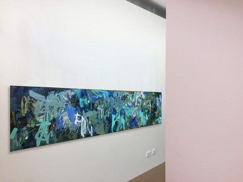 Kate Barry Artist   Blue Upheaval   64 cm x 245 cm   Framed   Oil, acrylic and pastel on board