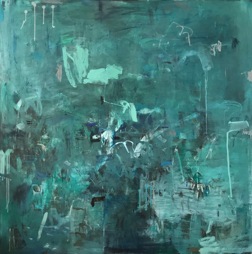 Kate Barry Artist | Misty Embrace | Oil and acrylic | Framed | 110 cm x 110 cm