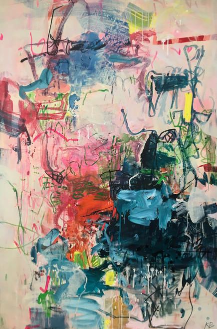 Sweet Skirmish | 153 cm x 104 cm | Framed | Ink, acrylic and oil on canvas