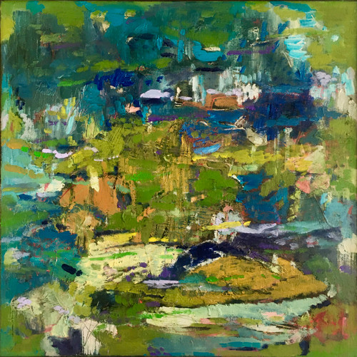 Kate Barry Artist | Chartreuse Scurry | 43 cm x 43 cm | Framed | Oil and acrylic on canvas