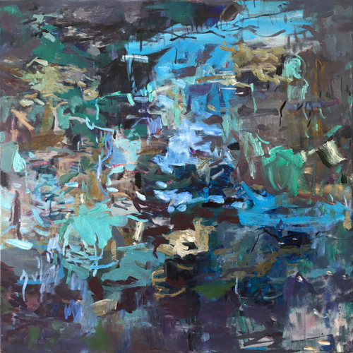 Blue Intervention | 78 cm x 78 cm | Framed | Oil on canvas