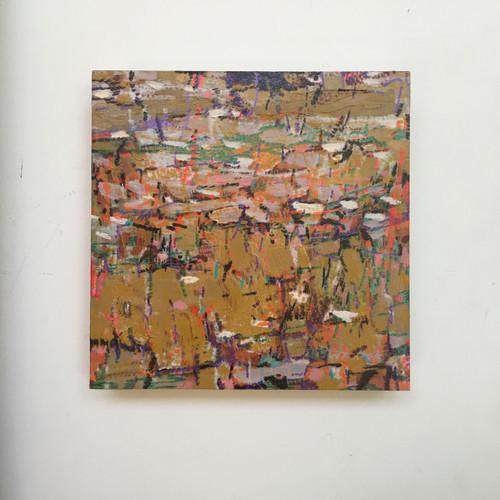 Lost Lino | 20 cm x 20 cm x 3 cm | Oil, acrylic and pencil on board