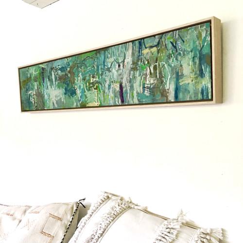Long Thin Stringy Gums | 23 cm x 104 cm | Framed | Oil on board