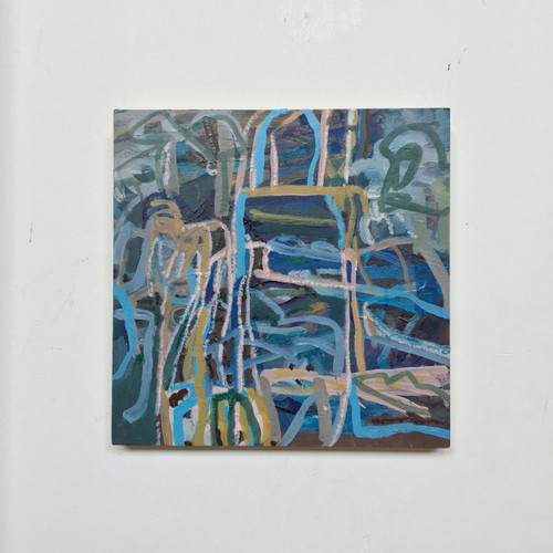 Flow | 20 cm x 20 cm x 1.5 cm | Oil on board