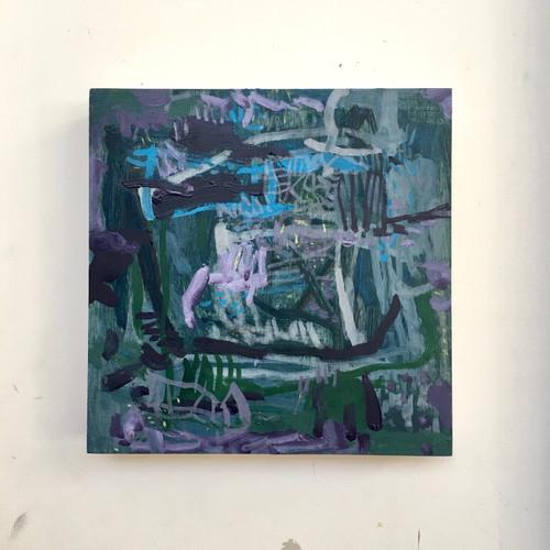 Jacarandas | 20 cm x 20 cm x 3 cm | Oil on board