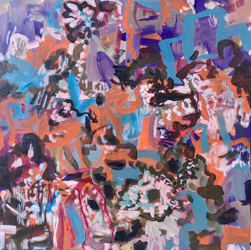 70s  Flowers   30 cm x 30 cm    Framed   Oil on board