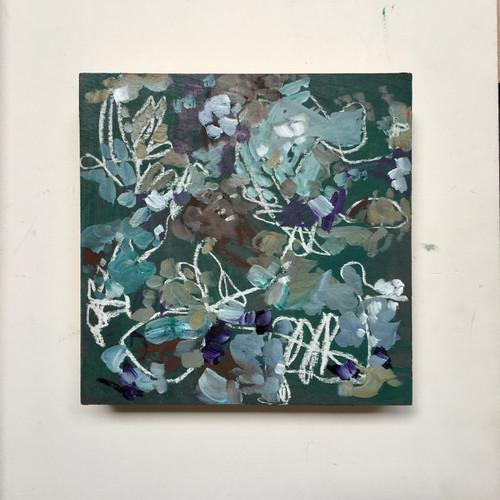 Flower Press | 20 cm x 20 cm x 3.5 cm | Oil on board