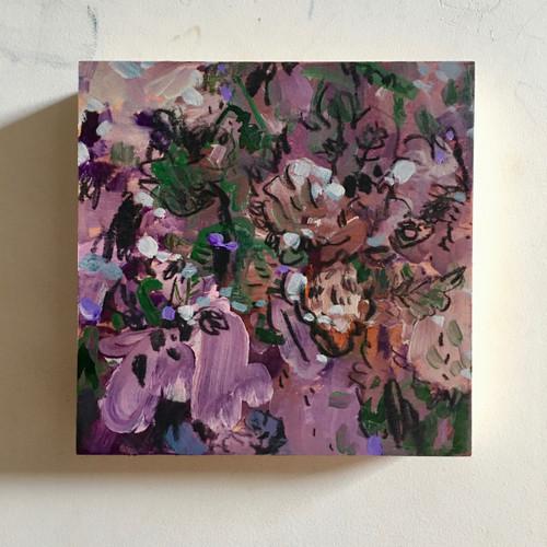 Violet Heart  | 20 cm x 20 cm x 3.5 cm | Oil on board