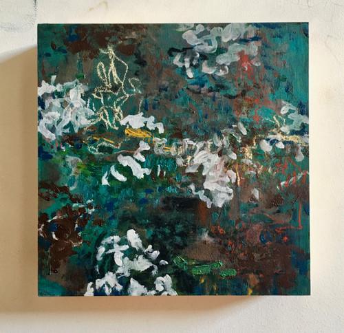 Hedges | 20 cm x 20 cm x 3.5 cm | Oil on board