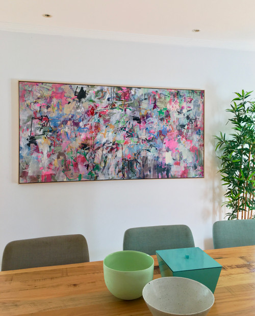 Profusion | 94 cm x 185 cm | Framed | Ink, acrylic and oil on canvas