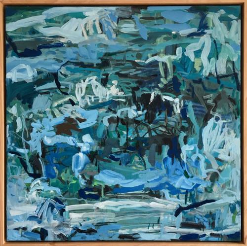 Skimming Stones | 52 cm x 52 cm | Framed | Oil on canvas