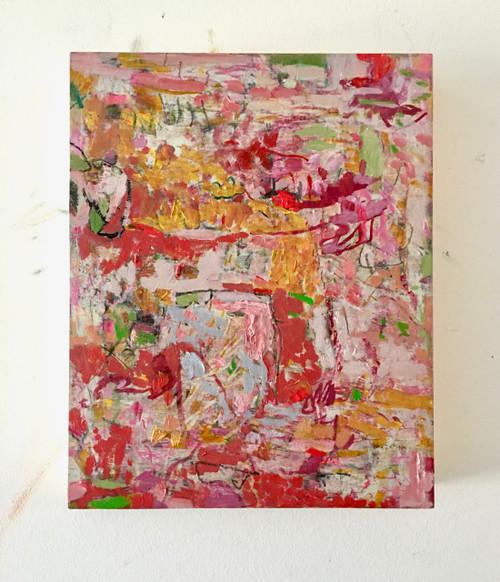 Fence Sitter | 25 cm x 20 cm x 3.5 cm | Oil on timber block