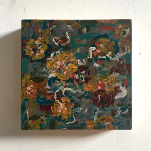 Hidden Blossom | 20 cm x 20 cm x 3.5 cm | Oil on board