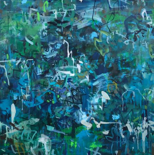 Park Light Play | 102 cm x 102 cm | Unframed | Ink and  oil on canvas