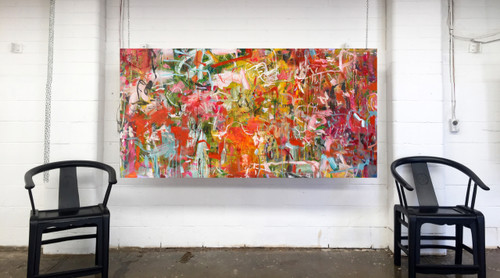 Folly Orange | 95 cm x 185 cm | Framed | Acrylic, Ink and Oil on canvas