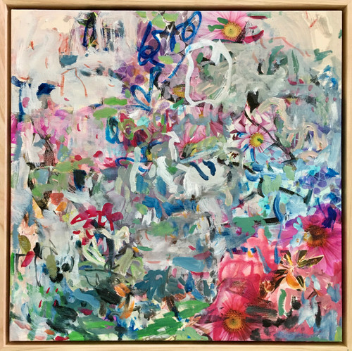 Long Blooming | 54 cm x 54 cm | Framed | Oil and ink on canvas