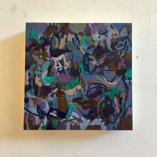 Umbra Blue | 20 cm x 20 cm x 3.5 cm | Oil on timber block