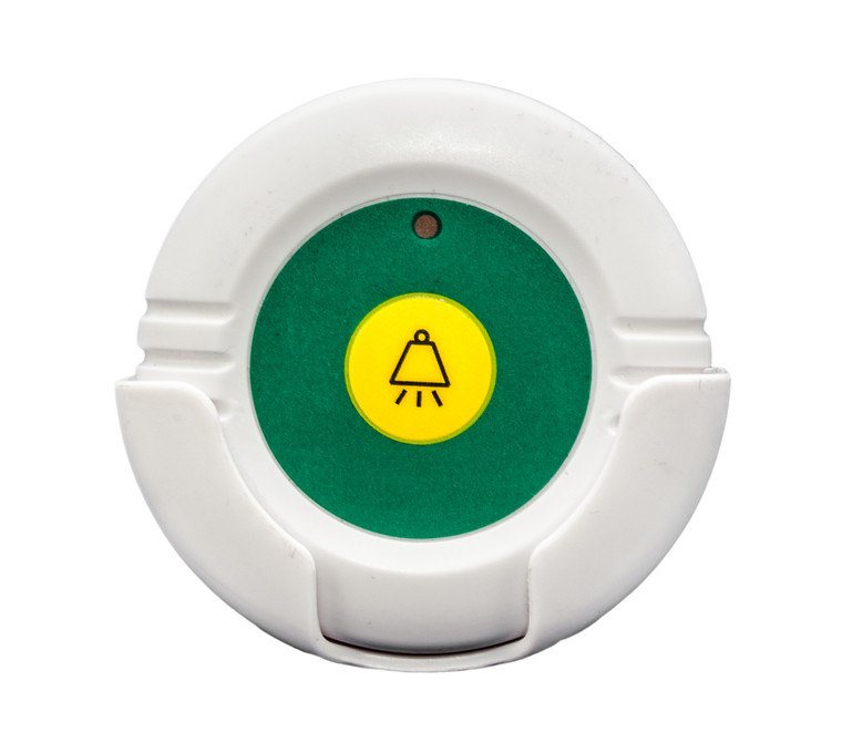 433-RB. This is a remote wireless call button for the 433-CMU that can be used by the caregiver to reset the call alarm without having to go back to the central monitor.