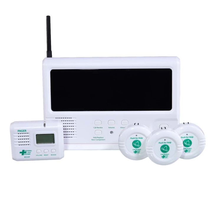 Front view of the EconomyCare+ Wireless Nurse Call System with one pager and three call buttons.