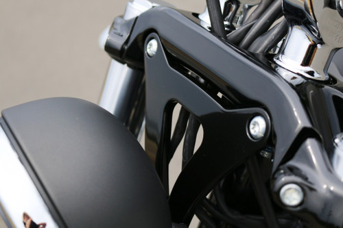 Kodlin Bates Style Headlight Bracket for Milwaukee 8 Softail Breakouts Black on bike