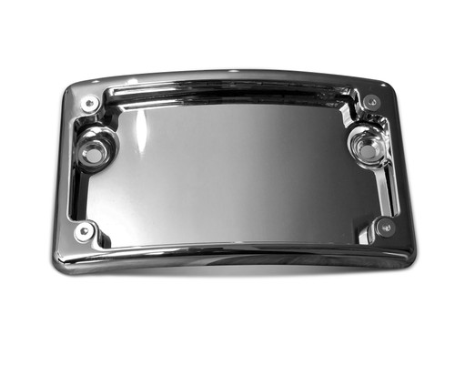 Chrome Curved License Plate for Harley-Davidson Touring models. Baggers, Road Glide, Street Glide, Road King Special