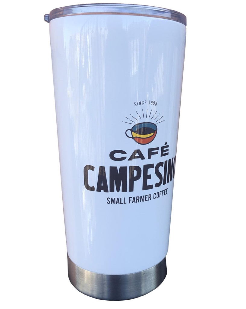 Cafe Campesino Branded 20 oz. Tumbler - White cup with brown lettering and a coffee cup logo