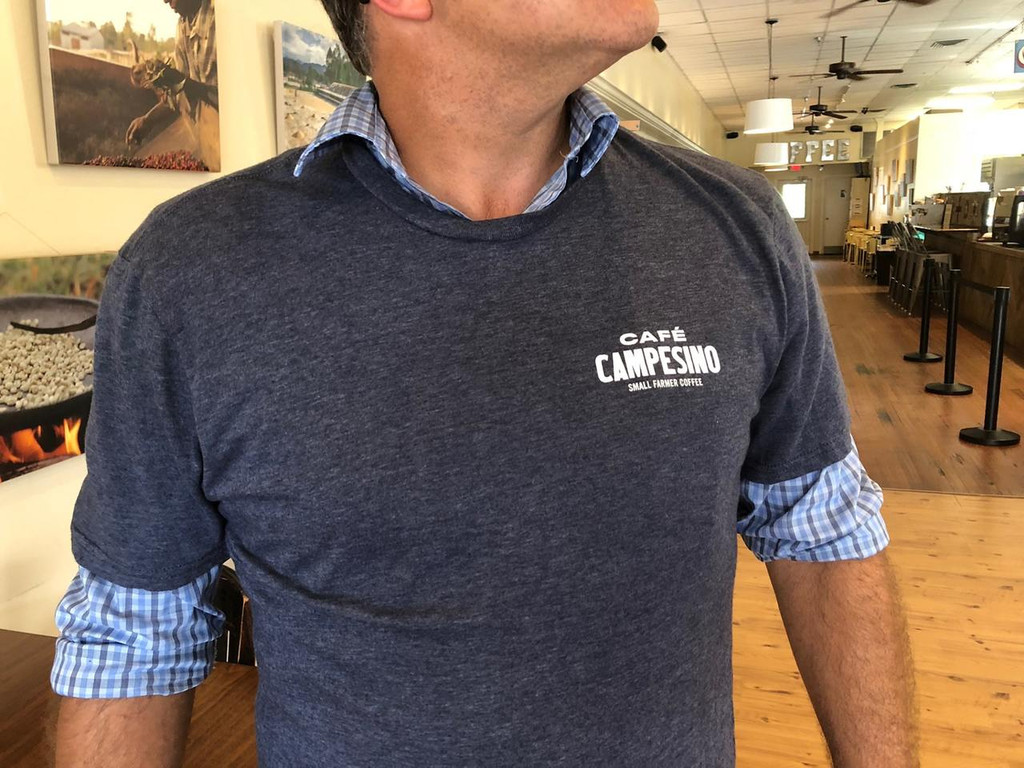 Non-fitted shirt front with Cafe Campesino logo