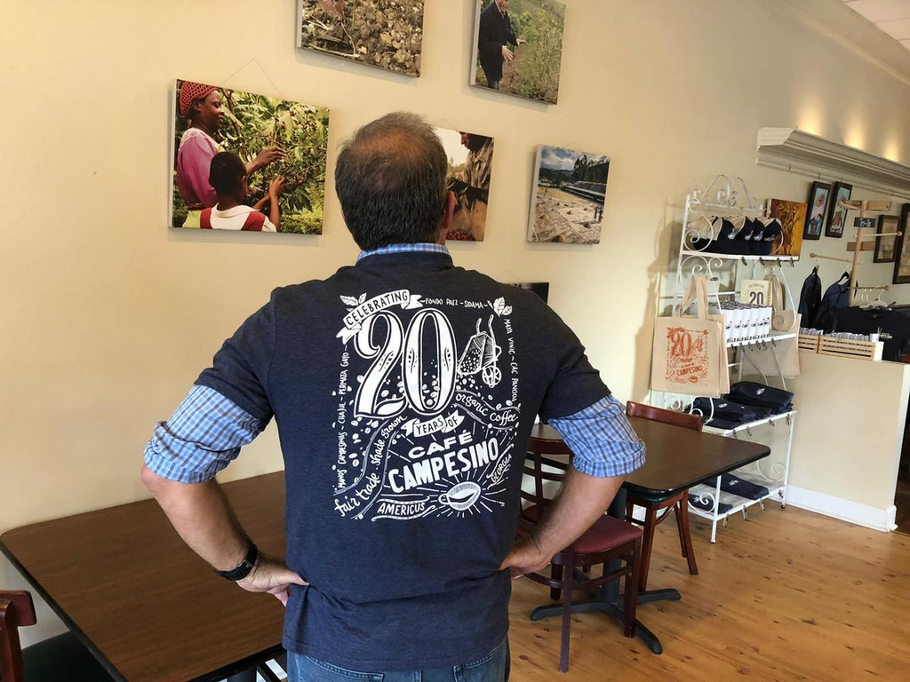Non-fitted shirt back with Cafe Campesino's 20 anniversary design by Ann Karp