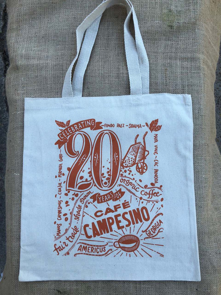 Tote bag created for the 20th Anniversary celebration of Cafe Campesino