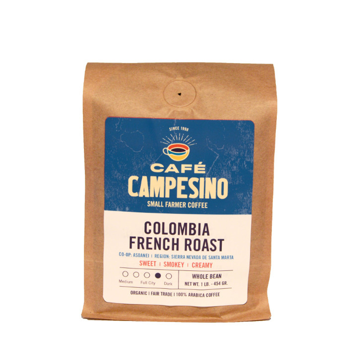 Café Campesino fair trade organic shade-grown coffee from the ANEI farmer cooperative in Colombia