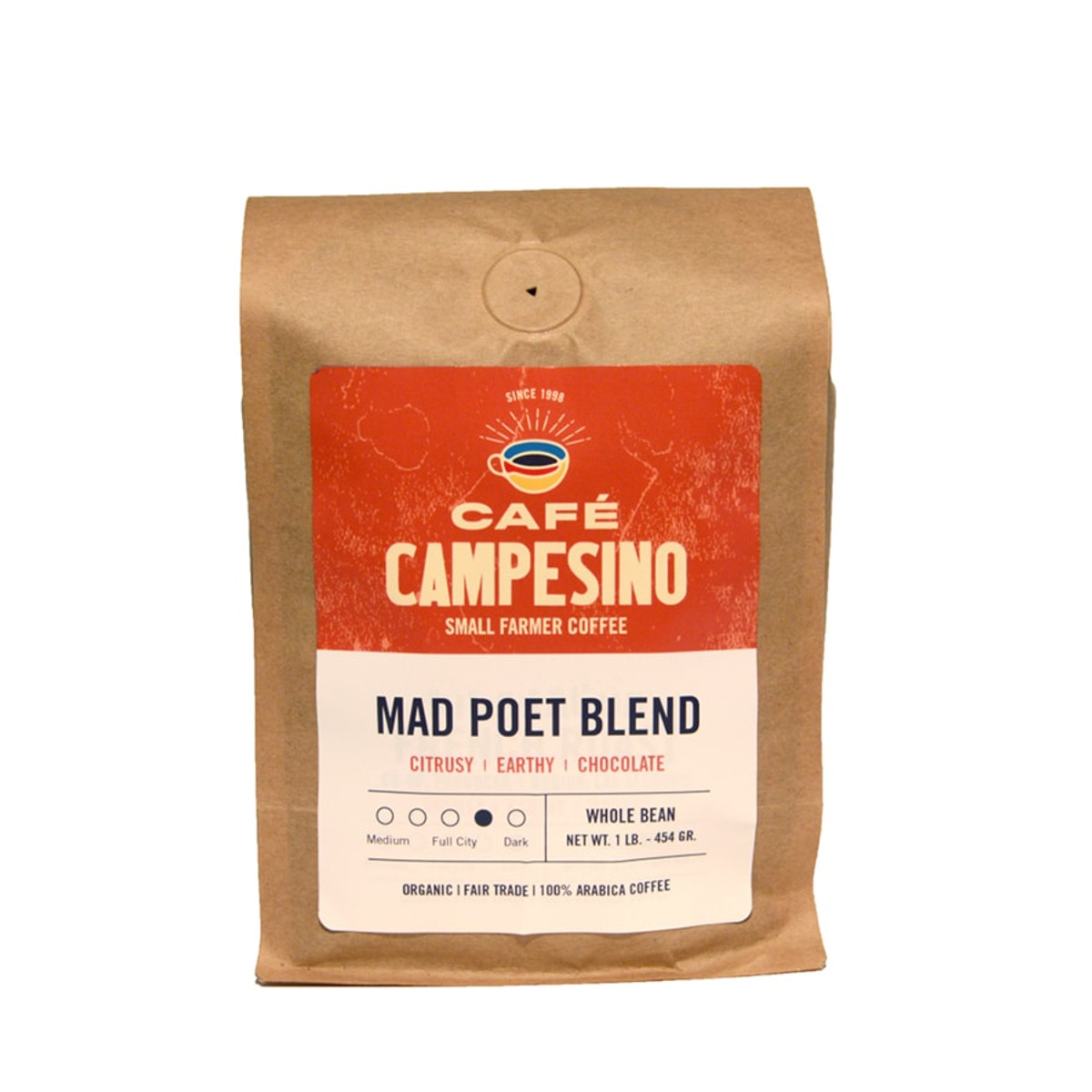 A blend of African, Central American and Indonesian coffees, Mad Poet is full-bodied with a roast profile that brings a little heft but still allows for bright African acidities.