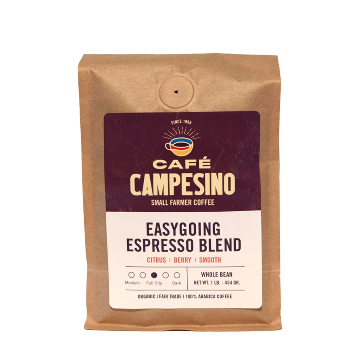Easygoing Espresso is a rich coffee with pronounced berry notes that comes from our combination of a proprietary espresso blend and South American beans