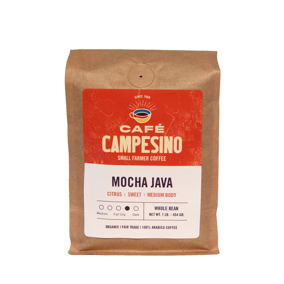 A delicious fair trade, organic, shade-grown blend of Indonesian and African coffee with a sweet, silky-bodied coffee with bright, citrus acidity.