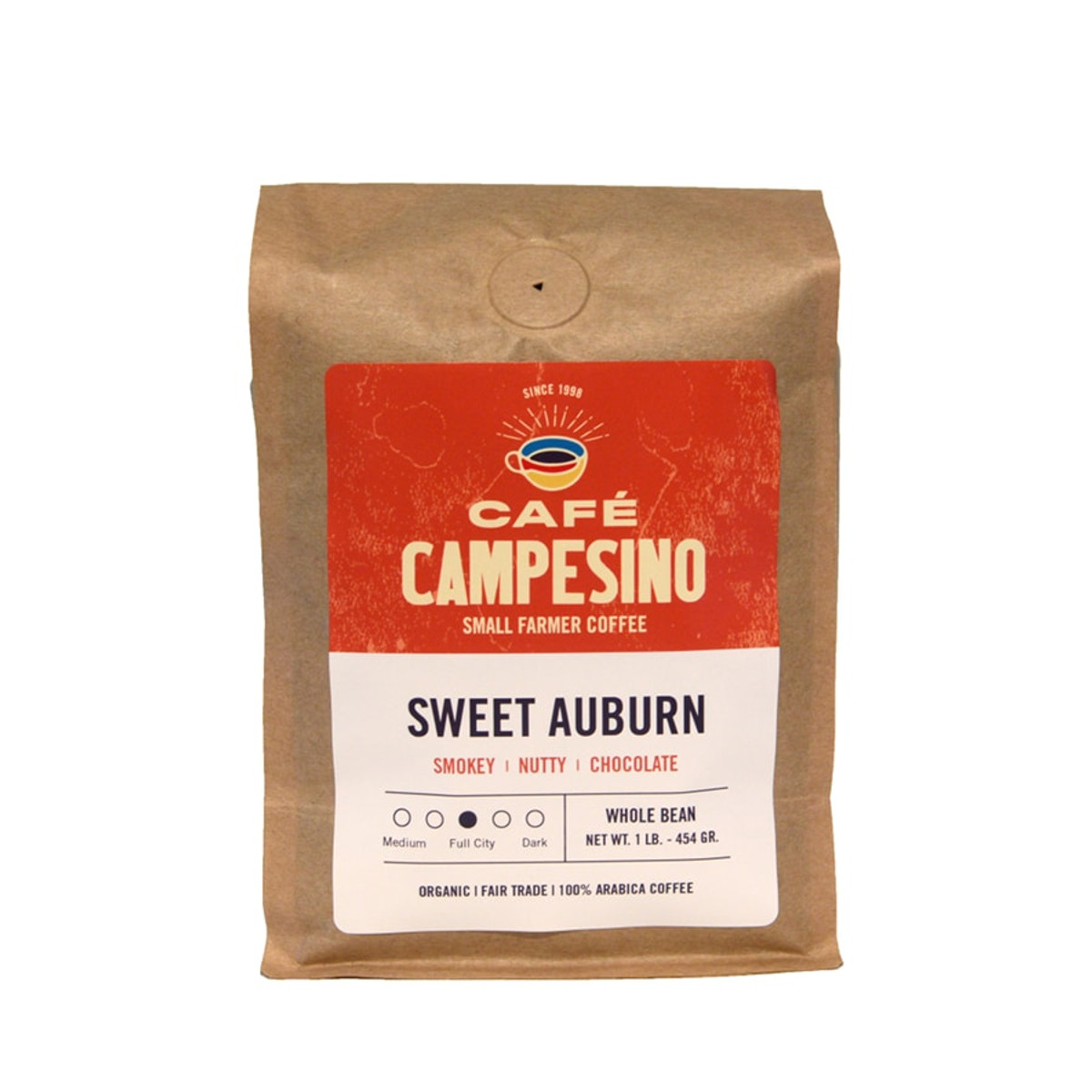 A fair trade, organic, shade-grown blend of Latin American coffees named for Atlanta's Historic Sweet Auburn neighborhood with a well-balanced with a smoky aroma, nutty, chocolate fragrance and flavor, low acidity, and a sweet aftertaste.