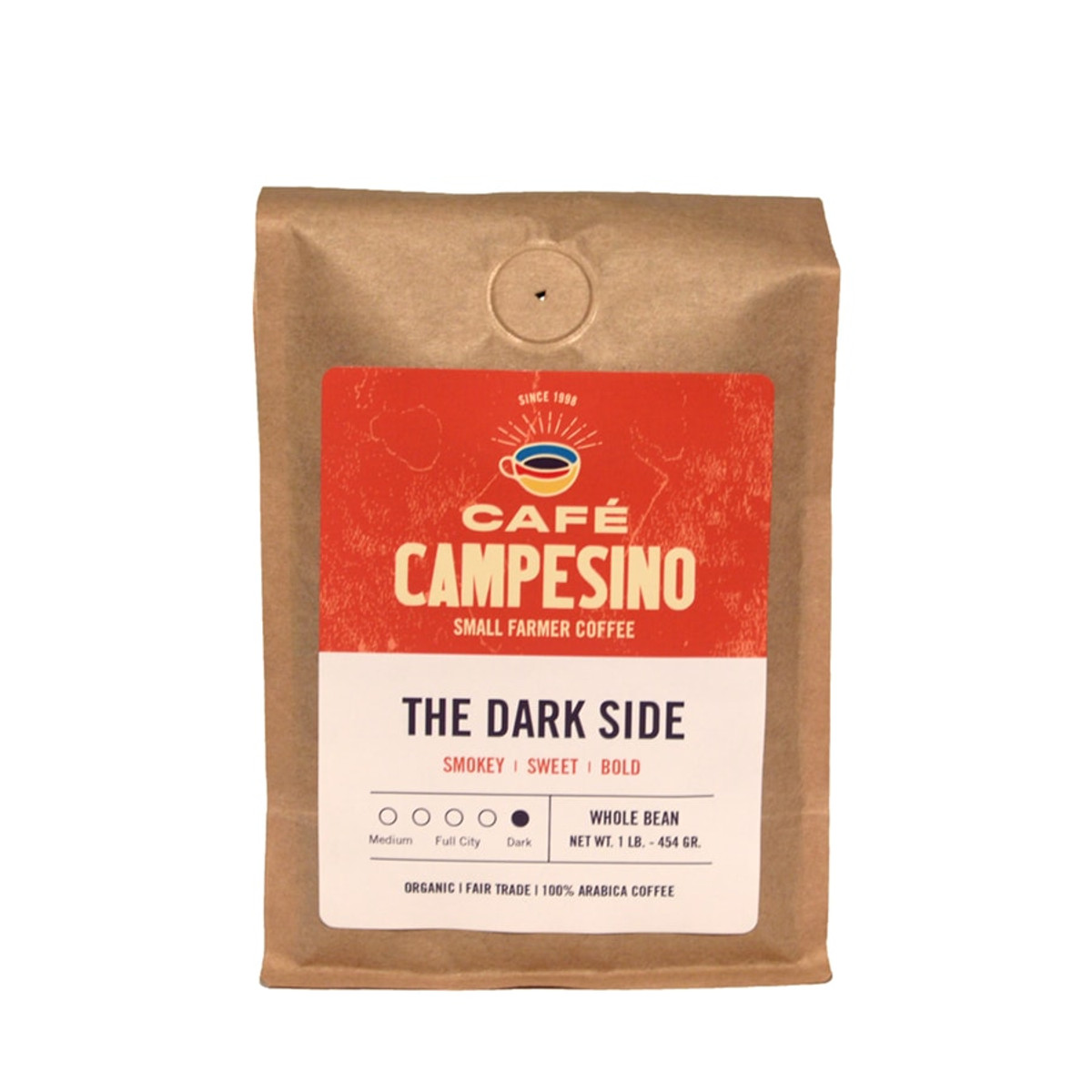 The Dark Side is a fair trade, organic, shade-grown blend of Latin American coffees with a full body, a smooth finish, with chocolate notes and a mildly smoky aftertaste.