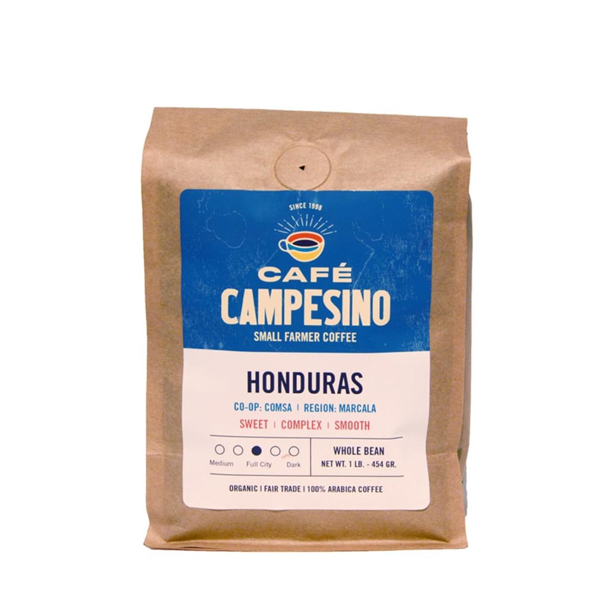 Fair trade, organic, shade-grown, arabica coffee grown by  COMSA in Marcala, Honduras
