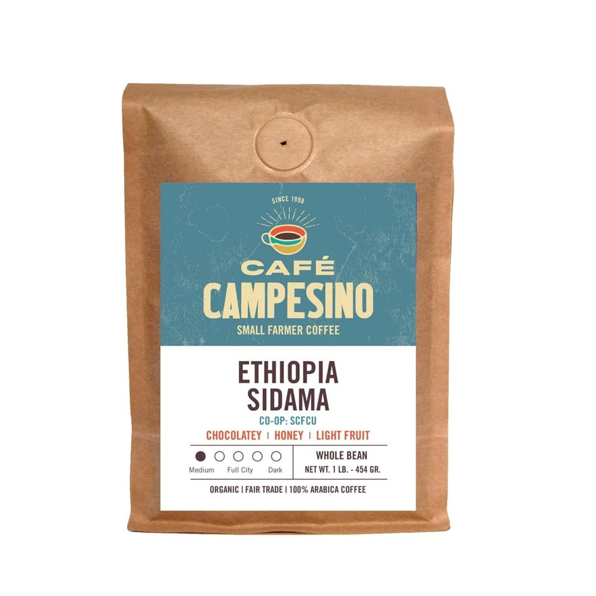 Fair trade, organic, shade-grown, arabica coffee grwon by the Fero Cooperative of the SCFCU in Sidama, Ethiopia.