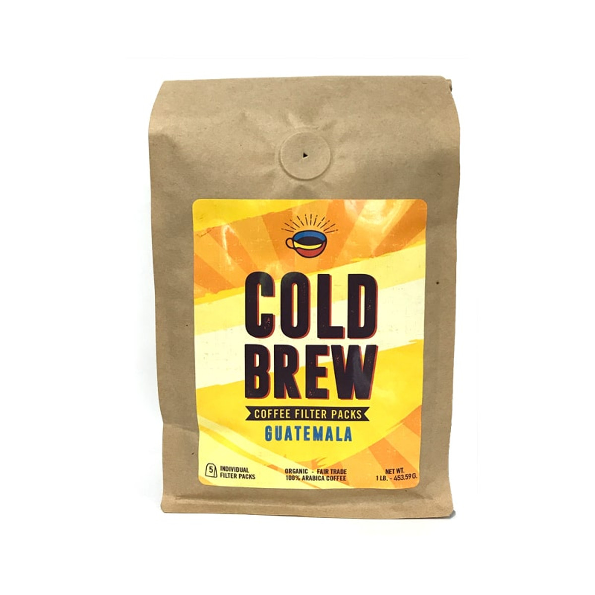 """One brown Biotre bag labels """"Cold Brew- Guatemala,"""" and containing five 3.2 oz filter packs for Cold Brew home-brewing."""