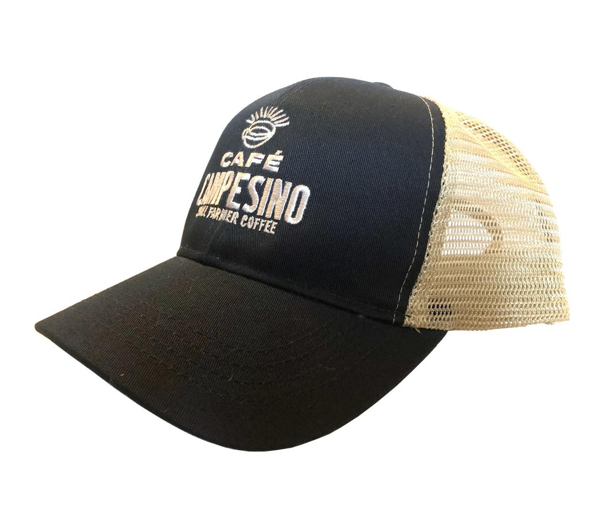 Navy-blue six panel eco-friendly trucker cap with Cafe Campesino embroidered logo on front.