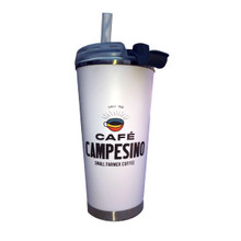 Cafe Campesino Branded 16 oz. Tumbler - White cup with brown lettering and a coffee cup logo