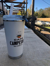 Cafe Campesino Branded 16 oz. Tumbler - White cup with brown lettering and a coffee cup logo side view with re-usable straw