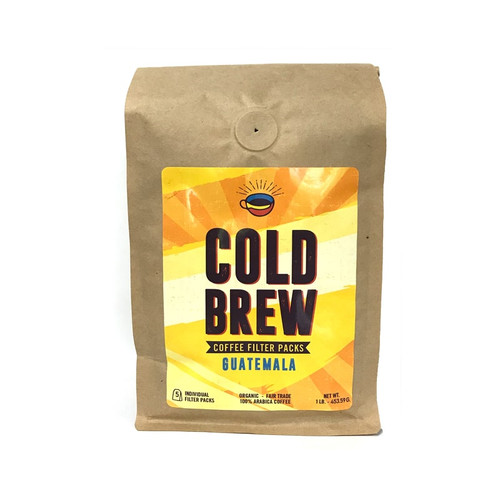 "One brown Biotre bag labels ""Cold Brew- Guatemala,"" and containing five 3.2 oz filter packs for Cold Brew home-brewing."