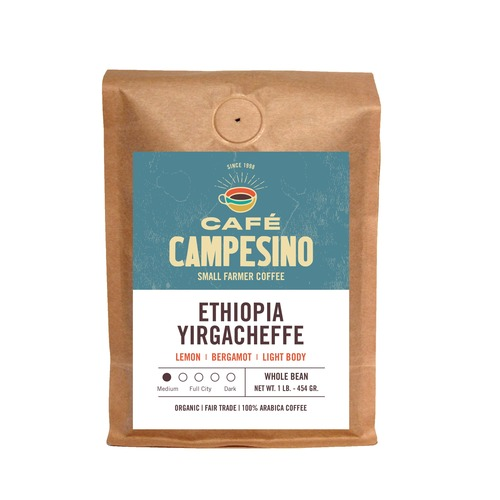 Fair trade, organic, shade-grown, arabica coffee from the Negele Gorbitu Cooperative in Yirgacheffe, Ethiopia.