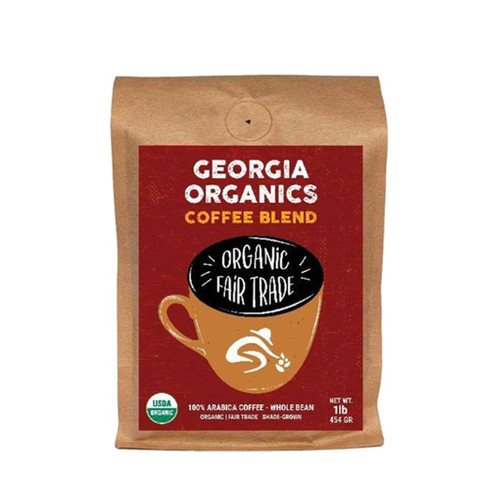 Georgia Organics Blend  is fair trade, organic coffee is medium-bodied with a sweet, fruity fragrance, a fresh, sweet taste, and a gentle, medium acidity that benefits Georgia Organics.