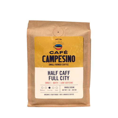 """This fair trade, organic, shade-grown coffee is an equal-parts blend of our """"natural water process"""" full-bodied decaf Full City Roast coffee combined with our regular Full City Roast coffees."""