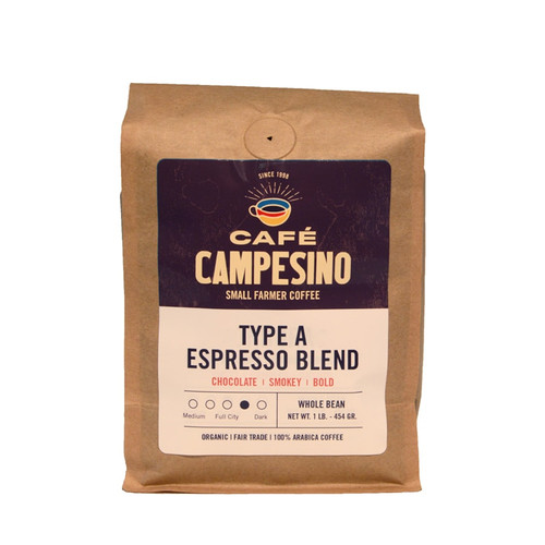Our Type A Espresso is our darkest espresso. We use our proprietary espresso blend and combine it with bright Central American beans and dark South American beans to create a strong, smoky and bold espresso.