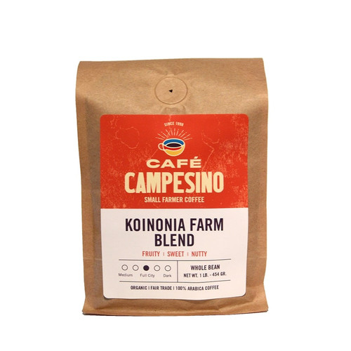 Koinonia Farm Blend is a fair trade, organic, shade-grown blend of Honduran and Sumatran coffees has a low-medium acidity, nice rounded body and sweet, smooth cocoa flavor.