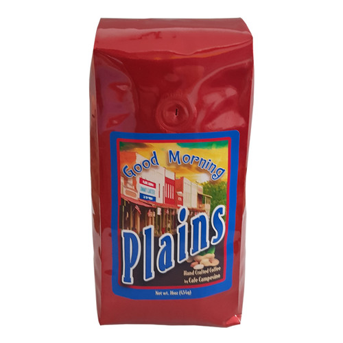 A breakfast blend of medium-roasted Nicaragua and Colombia coffees with Sumatra Viennese Roast. This organic, fair trade, organic, shade-grown blend has a sweet, fruity fragrance dedicated to the town of Plains, GA.