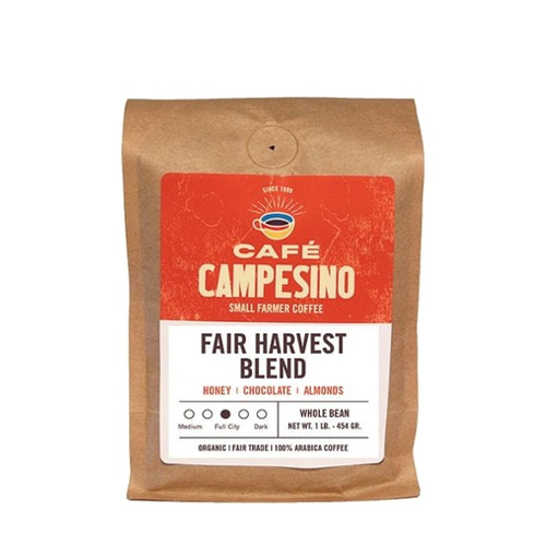 Fair Harvest is a delicious blend of Latin American coffees with a sweet, brown-sugar nose and flavor notes of honey and almonds.