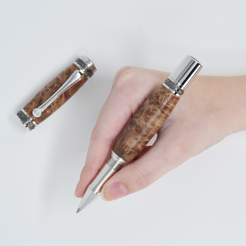 Majestic Rollerball Pen(Blk TN/Rhodium) - Buckeye Burl